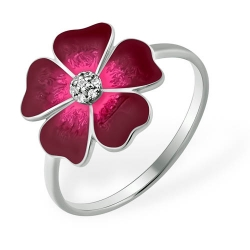 """Кольцо """"Цветочек"""" из серебра 925 с фианитами"""