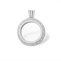 Кулон из серебра 925 с минеральным юв. стеклом, фианитами