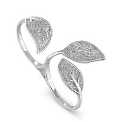 Кольцо-кастет из белого золота 585 пробы с бриллиантами