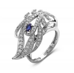 Женское кольцо Волшебное перо из белого золота c сапфиром и бриллиантом