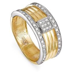 Мужское кольцо из желтого/лимонного золота 585 пробы с бриллиантами