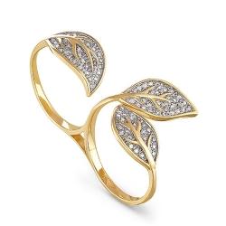 Кольцо-кастет из желтого/лимонного золота 585 пробы с бриллиантами
