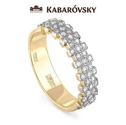 Кольцо из желтого/лимонного золота 585 пробы с бриллиантами