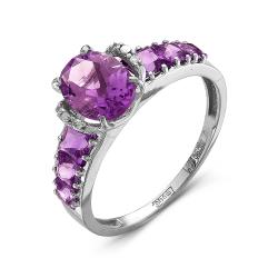 Женское кольцо из белого золота c аметистом и бриллиантом
