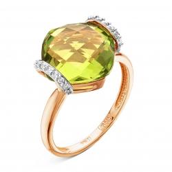 Золотое кольцо c ситаллом и бриллиантом
