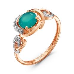 Золотое кольцо c халцедоном и бриллиантом