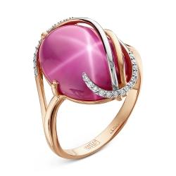 Золотое кольцо cо звездчатым рубином и бриллиантом