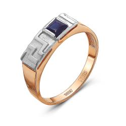Мужское золотое кольцо c сапфиром