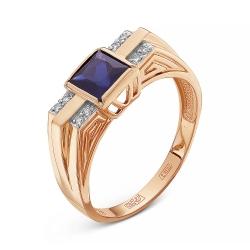 Мужское золотое кольцо c сапфиром и бриллиантом