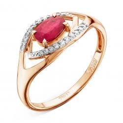 Золотое кольцо c рубином и бриллиантом