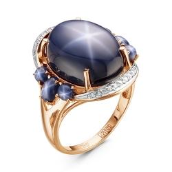 Золотое кольцо cо звездчатым сапфиром и бриллиантом