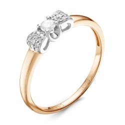 Золотое кольцо Бантик c бриллиантом