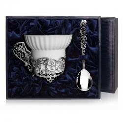 """Набор  серебряная чайная чашка """"Зимние узоры"""""""