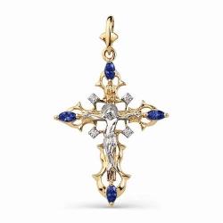 Золотой крестик с сапфиром ГТ и бриллиантом