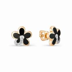 Золотые серьги-гвоздики с эмалью и бриллиантом