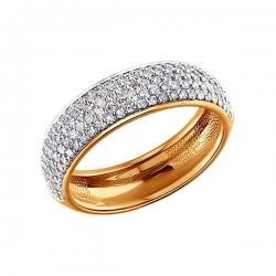 Золотое кольцо c множеством бриллиантов SOKOLOV
