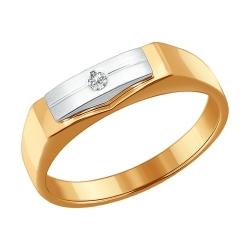 Мужское кольцо из комбинированного золота с бриллиантом SOKOLOV
