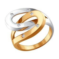 Золотое кольцо в виде подков c бриллиантами SOKOLOV