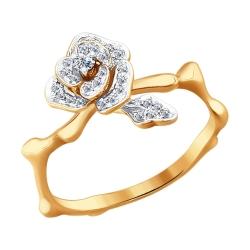 "Кольцо ""Роза"" из золота с бриллиантом SOKOLOV"