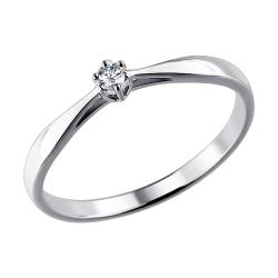 Помолвочное кольцо из белого золота с бриллиантом SOKOLOV