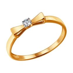 Кольцо из золота Бант с бриллиантом SOKOLOV