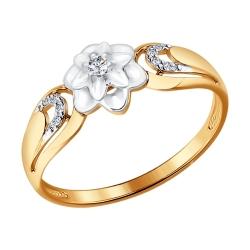 """Золотое кольцо """"Цветок"""" с бриллиантами SOKOLOV"""
