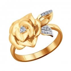 Золотое кольцо Цветок с бриллиантами SOKOLOV