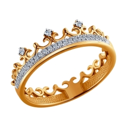 Золотое кольцо Корона с бриллиантами SOKOLOV