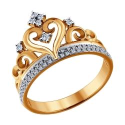 Золотое кольцо в виде короны с бриллиантами SOKOLOV