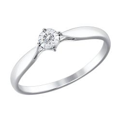 Помолвочное кольцо из белого золота (Бриллиант) SOKOLOV