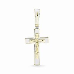 Крестик из желтого золота с эмалью и бриллиантом