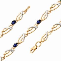 Золотой декоративный браслет с сапфиром