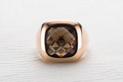 Мужское кольцо Pelegrino из красного золота с раухтопазом