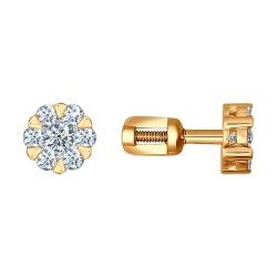 Золотые серьги Цветы c бриллиантами SOKOLOV