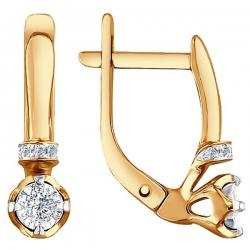 Золотые серьги c бриллиантами SOKOLOV