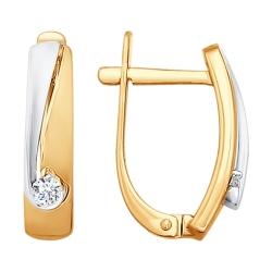 Серьги из комбинированного золота с бриллиантом SOKOLOV