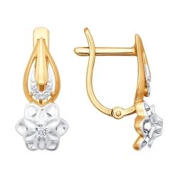 Золотые серьги в виде цветов с бриллиантами SOKOLOV