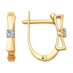 Золотые серьги Бантики с бриллиантами SOKOLOV