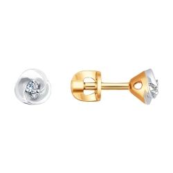 Золотые серьги пусеты с бриллиантами SOKOLOV