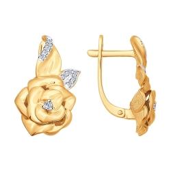 Золотые серьги в виде цветка с бриллиантами SOKOLOV