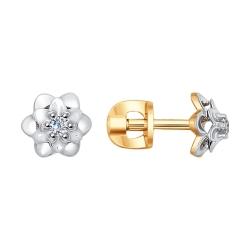 Серьги гвоздики в виде цветка с бриллиантами SOKOLOV