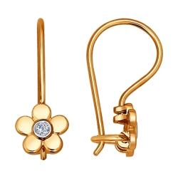 Золотые серьги в виде цветов (Бриллиант) SOKOLOV