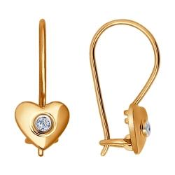 Золотые серьги Сердца(Бриллиант) SOKOLOV