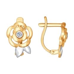 Золотые серьги Цветы (Бриллиант) SOKOLOV