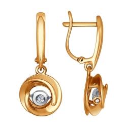 Серьги висячие Розы из комбинированного золота (Бриллиант)