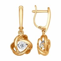 Серьги с подвеской из комбинированного золота с бриллиантом SOKOLOV