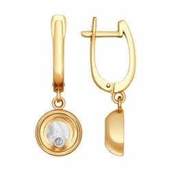 Серьги с подвеской из комбинированного золота с сапфировым стеклом SOKOLOV