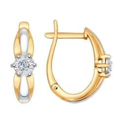 Серьги из комбинированного золота c бриллиантом SOKOLOV