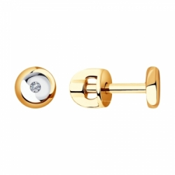 Золотые пусеты с бриллиантами Sokolov