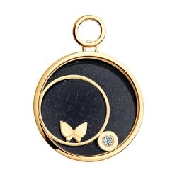 Золотая подвеска Бабочка с сапфировым стеклом SOKOLOV